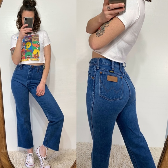 3b53ee6890 Wrangler Jeans | True Vintage High Waisted Crop Mom | Poshmark